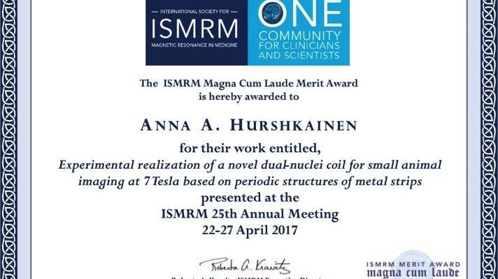 Anna Hurshkainen, Magna Cum Laude Merit Award at ISMRM 2017
