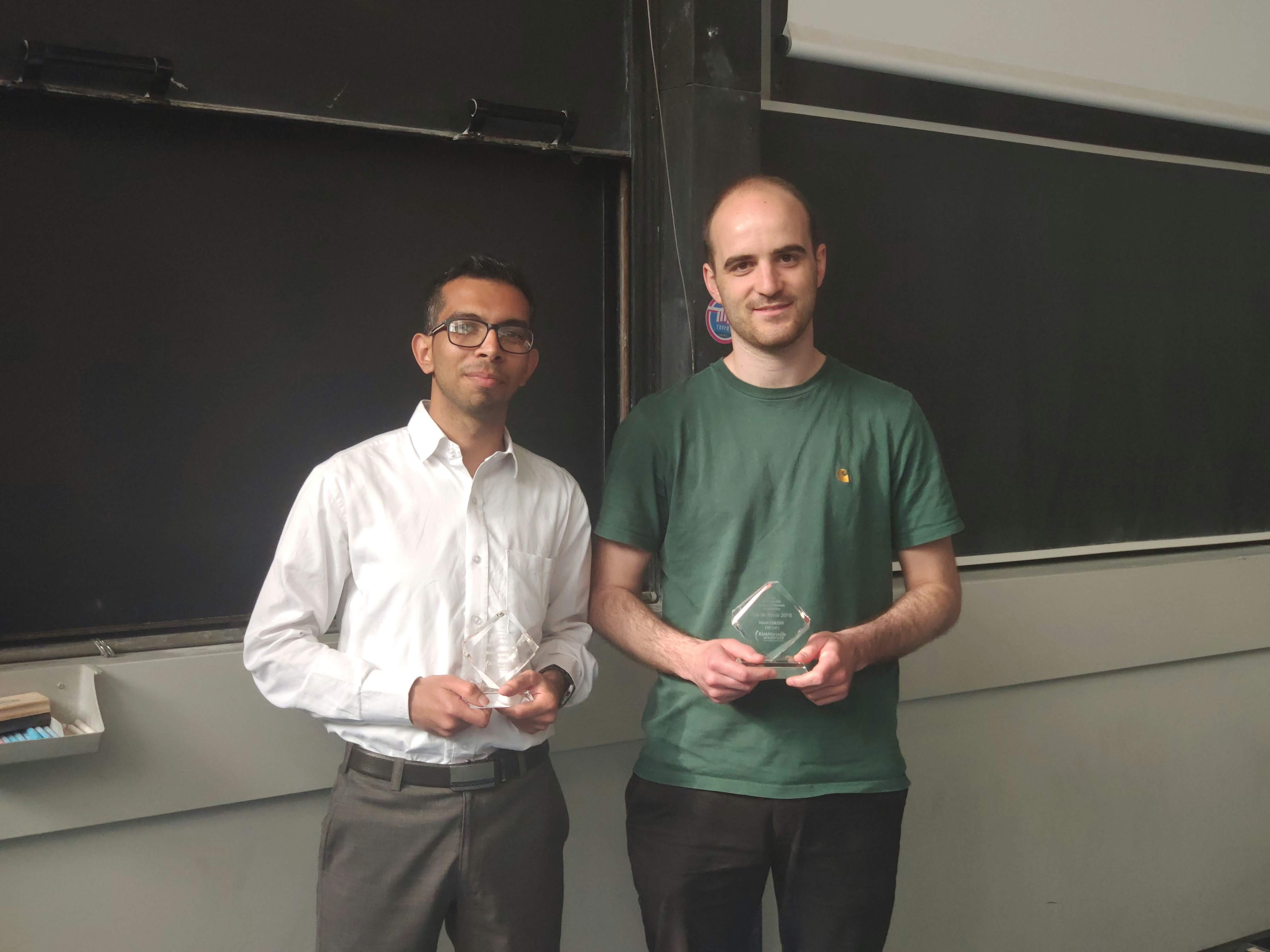 Our winner with his colleague from Institut Fresnel