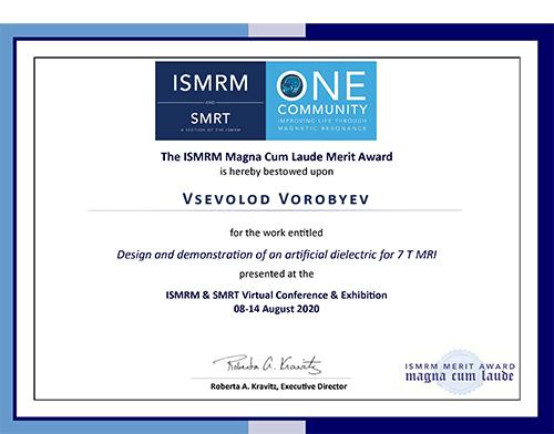 ISMRMMerit Award for Vsevolod VOROBYEV